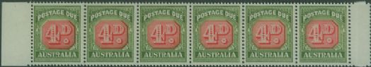 Postage Due SG D135 4d Carmine and deep Green strip of 6 s (AD1/12)